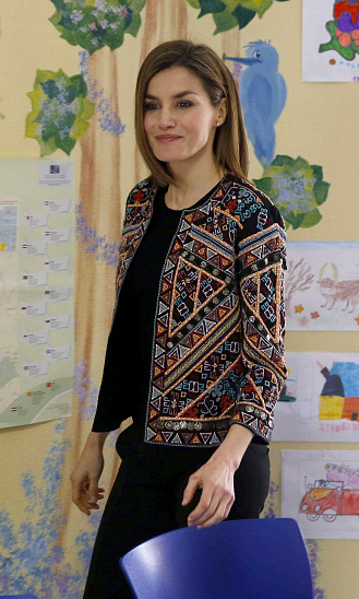 Queen Letizia of Spain brought out one of her fave Zara pieces, an embroidered jacket, as she visited a children's hospital in Madrid.