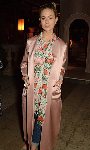 Trendsetter Elisabeth Von Thurn und Taxis attended the Erdem show wearing a pale silk duster during London Fashion Week.