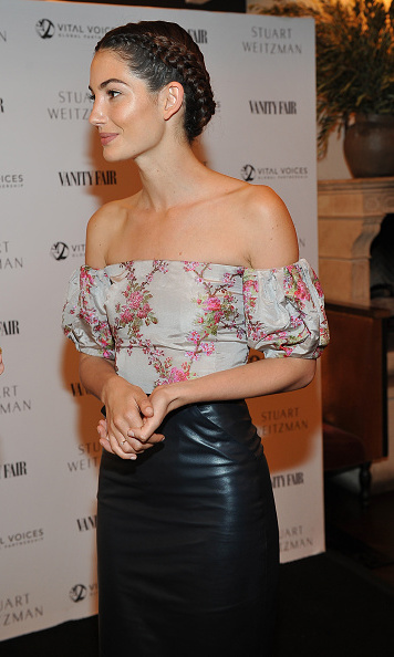 Lily Aldridge kept with the fun and flirty theme with her pulled back braided hair at the Vanity Fair and Stuart Weitzman luncheon for Elizabeth Banks.