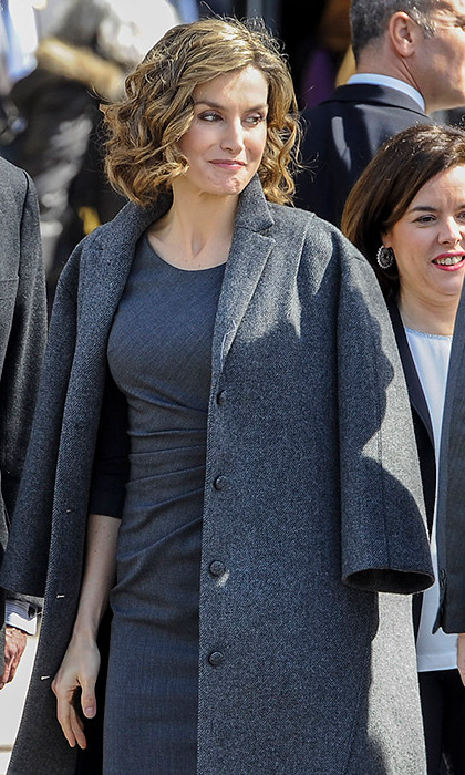 Rocking an all grey outfit, Queen Letizia of Spain stepped out to attend the opening of an exhibition about the life of prolific Spanish author Miguel de Cervantes in Madrid.
