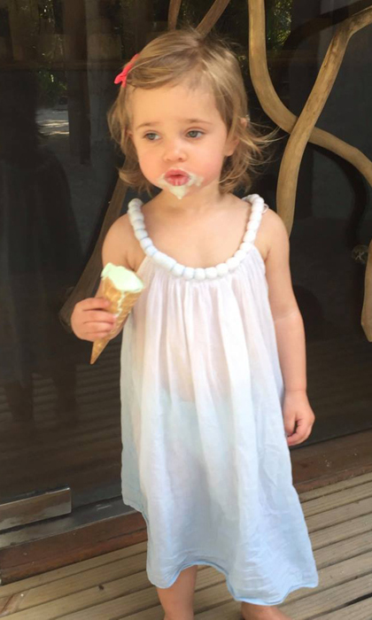 Madeleine was quick to grab the camera and catch this funny moment of her daughter covered in ice cream after a day at the beach.