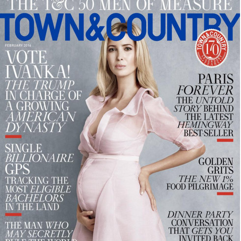 Ivanka turns cover girl, showing off her blossoming figure in powder pink on the cover of Town and Country. 
