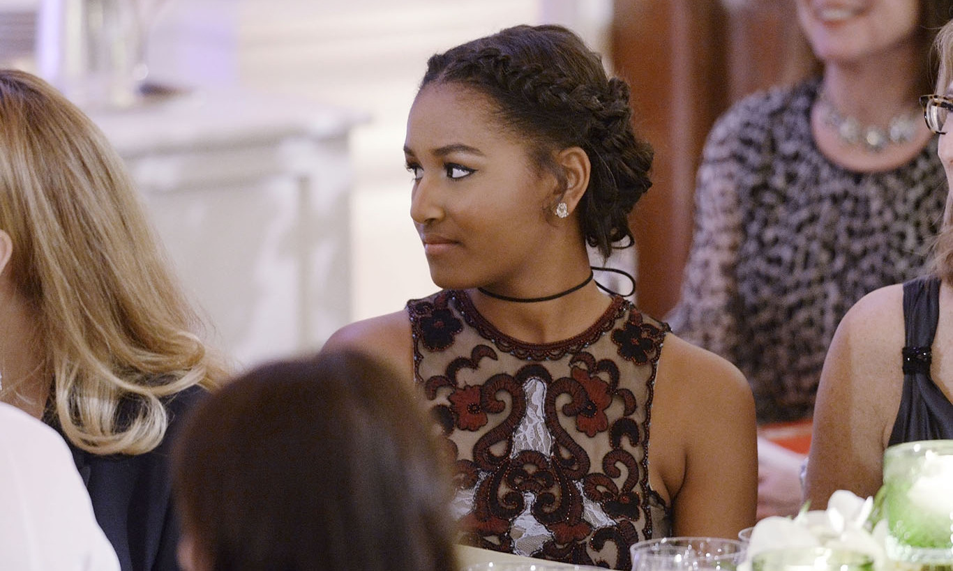 March 2016: Style of her own! Sasha Obama rocked a edgy but classy look during her first appearance at the State Dinner. 