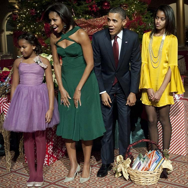 December 2011: The girls and their mom wore a rainbow of color block dresses during the taping of 'Christmas in Washington'. 