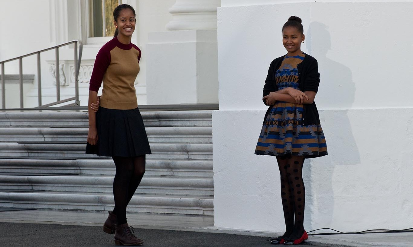 November 2012: Sasha and Malia showed off stylish fall looks. 