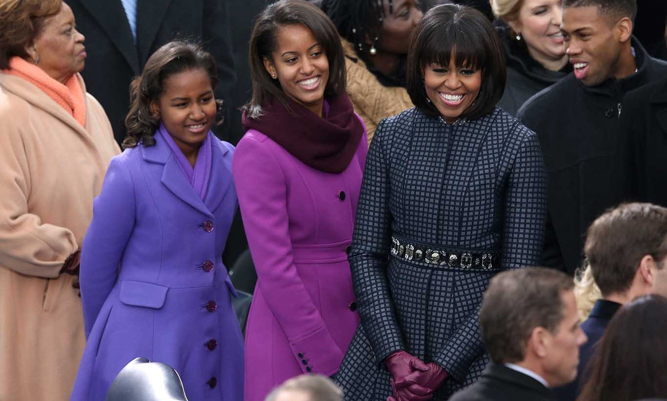 January 2013: Sasha, Malia and their mother Michelle nailed the inauguration fashion for a second time in complementing coats. 
