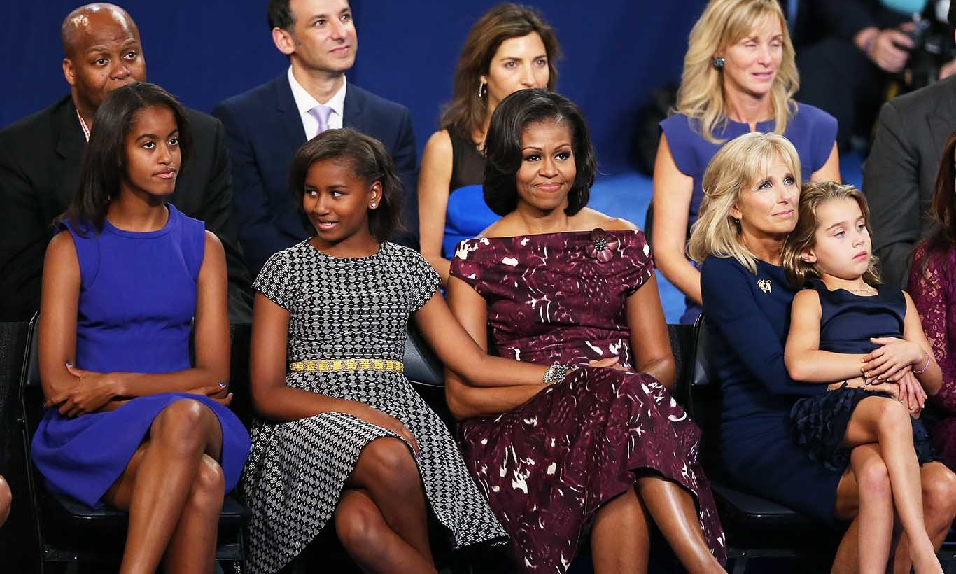 September 2012: Front row style doesn't just happen at Fashion Week! While their father accepted his nomination for his second Presidential bid, Sasha and Malia were stylishly seated next to mom.