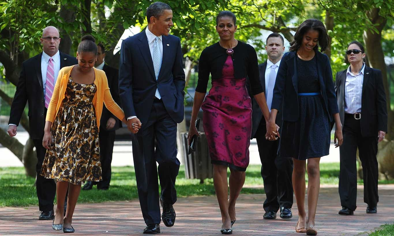 April 2012: Spring into fashion! Feminine 1950s style for all three Obama ladies for an Easter service in Washington D.C.