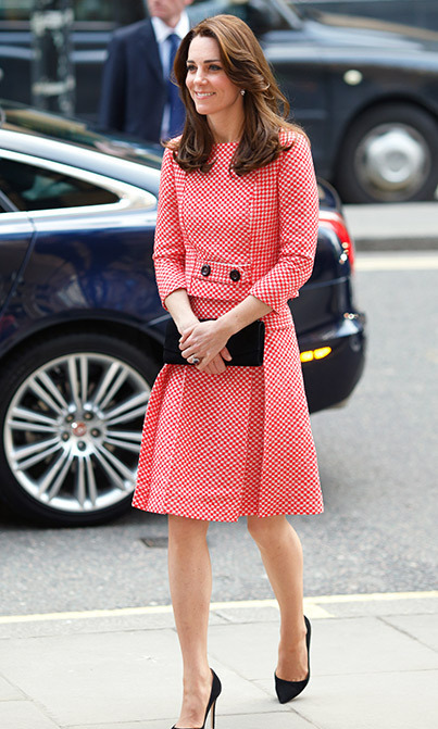 Kate may have her pick of the world's most famous designers, but the Duchess of Cambridge shunned the big names to wear this outfit created by a lesser-known British label. The royal wore a red-and-white tweed checked skirt and top suit from Epinone as she visited a charity in London.