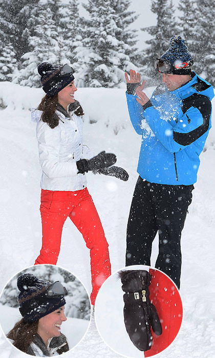 The pretty brunette looked as stylish as usual in her ski gear. Her form-fitting white jacket is from E and O, a British brand founded in 2008, and she's also wearing bright red ski pants by label. Kate's goggles, meanwhile, are by UVEX, and she's sporting weatherproof boots by Sorel.