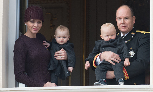 Saying hello to the people! Dressed up in matching black coats, the tiniest royals helped celebrate National Day. 