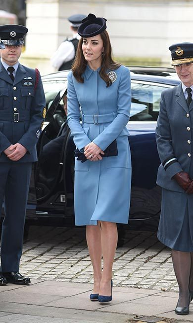 When it came time to fulfilling her new role with the Air Cadets, the Duchess of Cambridge opted for a recycled piece from her wardrobe for the occasion, bringing back her pale-blue Alexander McQueen coat.