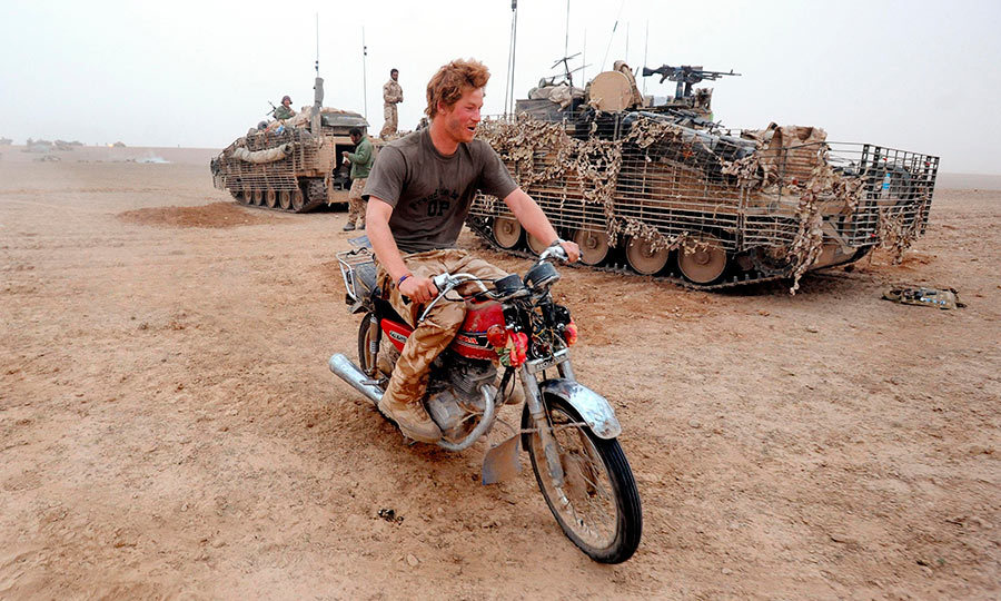 During a tour of Helmund province, Army office Prince Harry decided to try and start this motorcycle that had been abandoned n the desert.