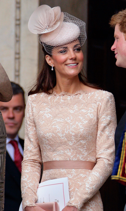 Sporting a feminine, net-trimmed fascinator, the Duchess was demure and sophisticated while attending the Queen's Thanksgiving service at St. Paul's Cathedral.