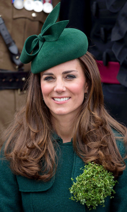 The Duchess chose an emerald green Gina Foster fascinator to match her festive green coat on St. Patrick's Day last year.