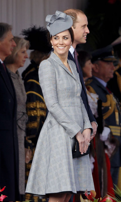 Making her first public appearance since announcing her second pregnancy, Kate pulled out all the stops with a gorgeous grey ensemble consisting of Alexander McQueen and milliner Jane Taylor.