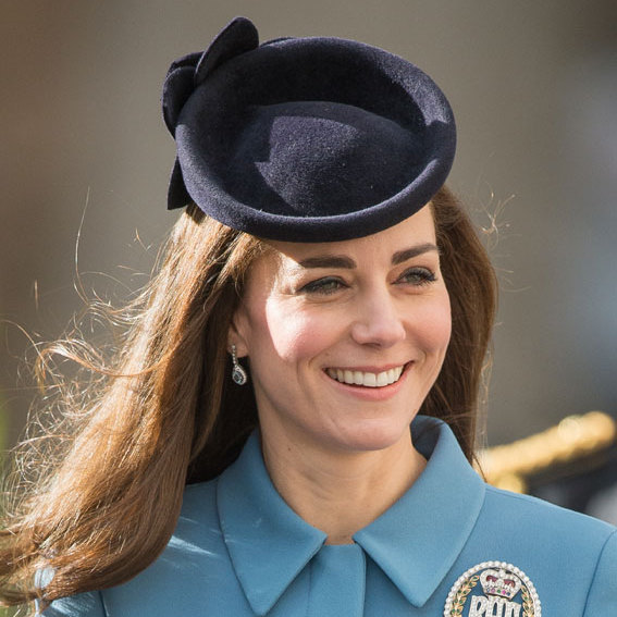 Kate prefers an off-center style when it comes to hats, normally one that sits low on her forehead.
