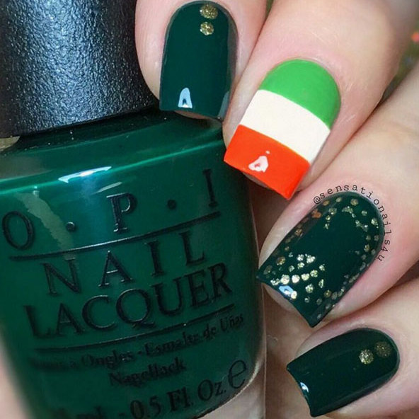 The Irish flag - orange, white and green - features in this design. For the shamrock, take your favorite shimmery gold polish and use a toothpick to dot out the outline.
