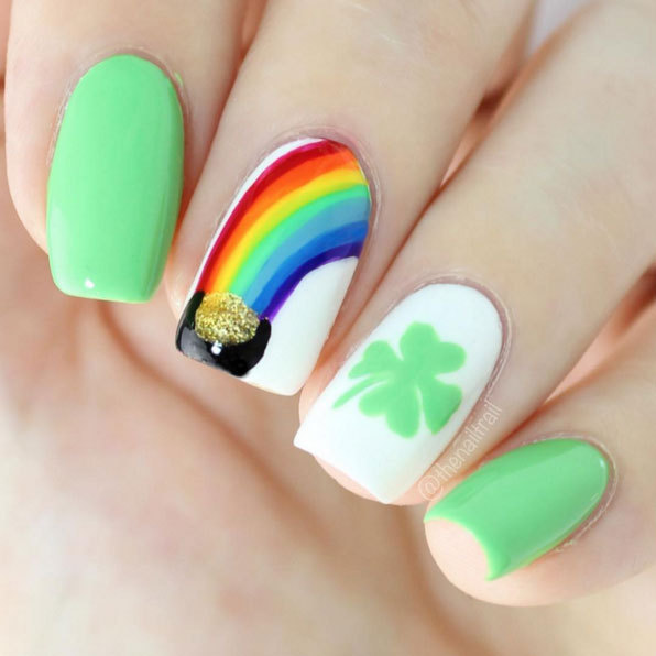 Make your own pot o' gold with stripes of rainbow colors and a little bit of glitter gold. Adding a shamrock requires an extra-steady hand with a toothpick.