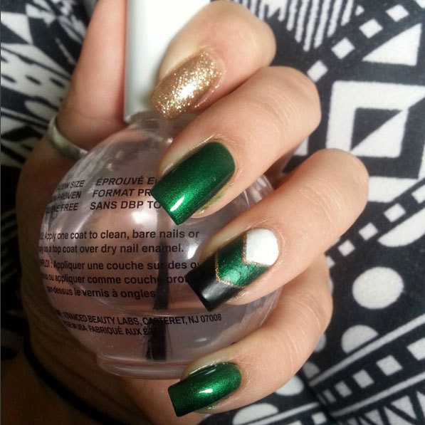 The metallic green and and pop of gold make this a fun look.