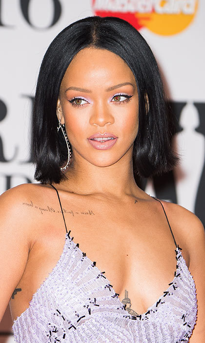Rihanna's hair was on point at the BRIT awards when she styled her new shorter style into a bob with flicked-out ends.