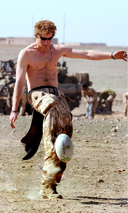 Sports fan Harry took some time out for rugby practice in the desert in Helmand Province while serving with the Army in Afghanistan in 2008. 