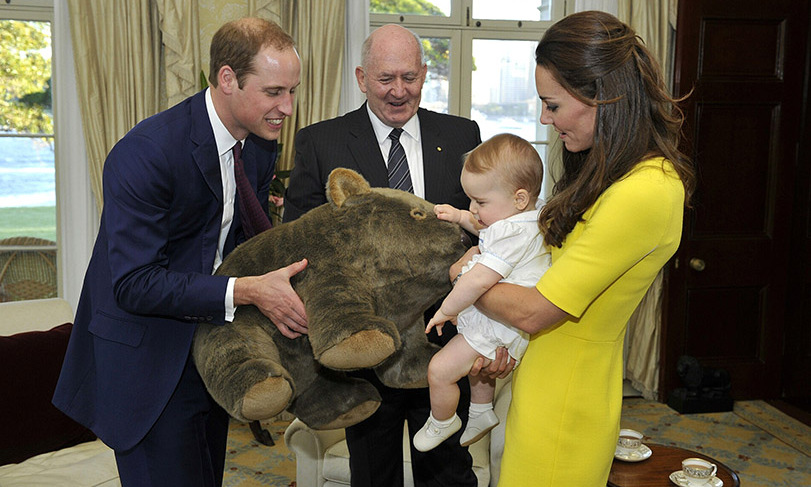 Sweet little moments! Kate held on to Prince George while he received a gift from Governor-General Sir Peter Cosgrove at Admiralty House in Australia. 