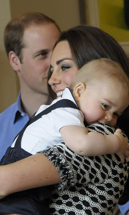 Big hugs! Prince George embraced his mother during the family visit to New Zealand.