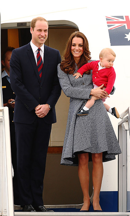 Mom kept her poise as Prince George looked ready to get the sightseeing started in Canberra, Australia.
