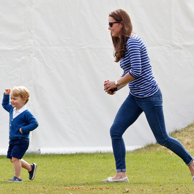 Kate kept up with her little man during a charity polo match at the Beaufort Polo Club. 