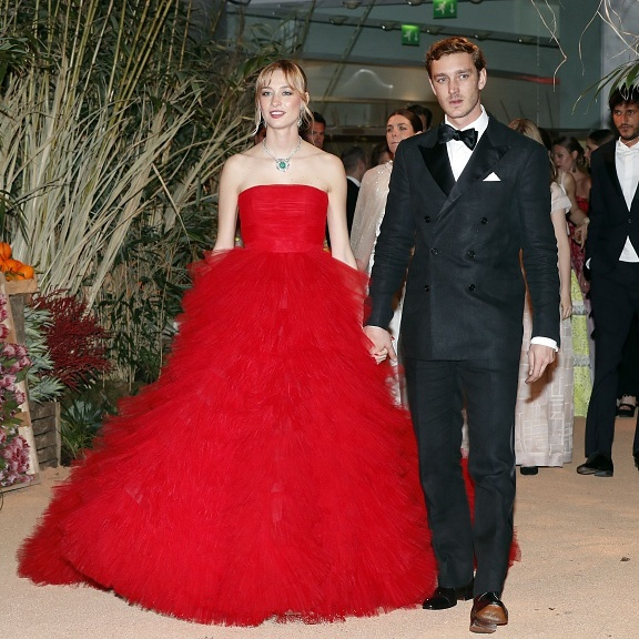 The couple made their Monaco Rose Ball debut as husband and wife in spectacular style, with Pierre in a double-breasted tux, and Beatrice in Giambattista Valli haute couture. 