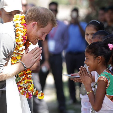 The Prince greeted children at a local village of Homestay, Leorani hamlet in Bardia National Park.