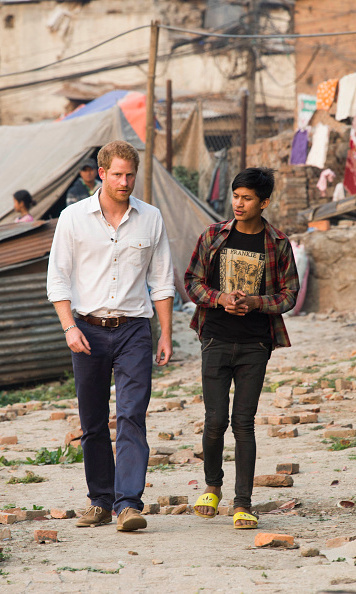 Harry toured the Buyansi Camp (a municipal camp for families displaced by the 2015 earthquake) with 15-year-old Purushottam Suwal.