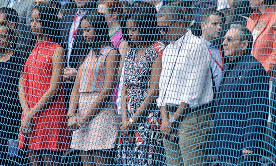 March 2016: Play ball! Sasha and Malia showed off their laid back style while watching the Tampa Bay Rays take on the Cuban National team during their trip to Cuba. 
