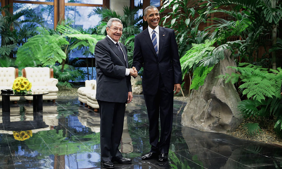 March 21: President Obama and President Raul Castro greeted each other before the State Dinner. 