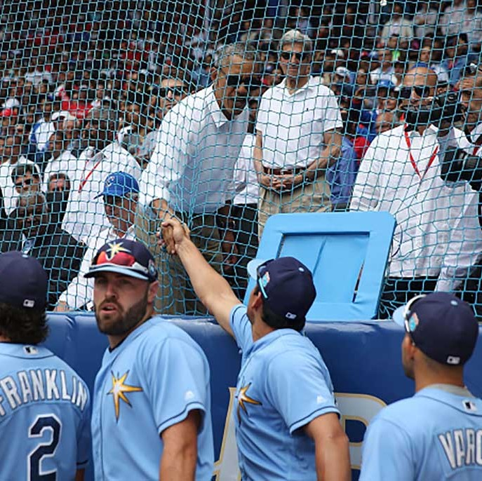 March 22: President Obama shook the hands of the players from the Tampa Bay Rays after they faced off against the Cuban National team. 