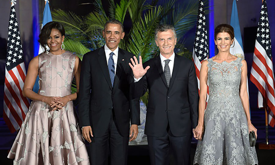 March 23: The president and the first lady stood next to President Mauricio Macri and his wife Juliana Awada during the State Dinner. 