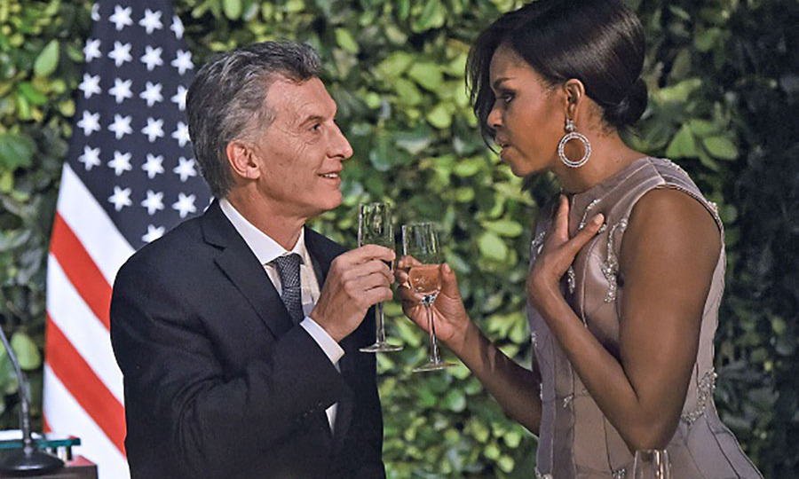 March 23: Michelle Obama toasted President Mauricio Macri during the State Dinner.