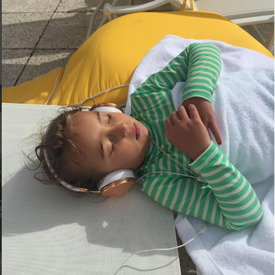 Ivanka snapped this picture of Arabella soaking up some sun and catching some zzz's during a family vacation. 