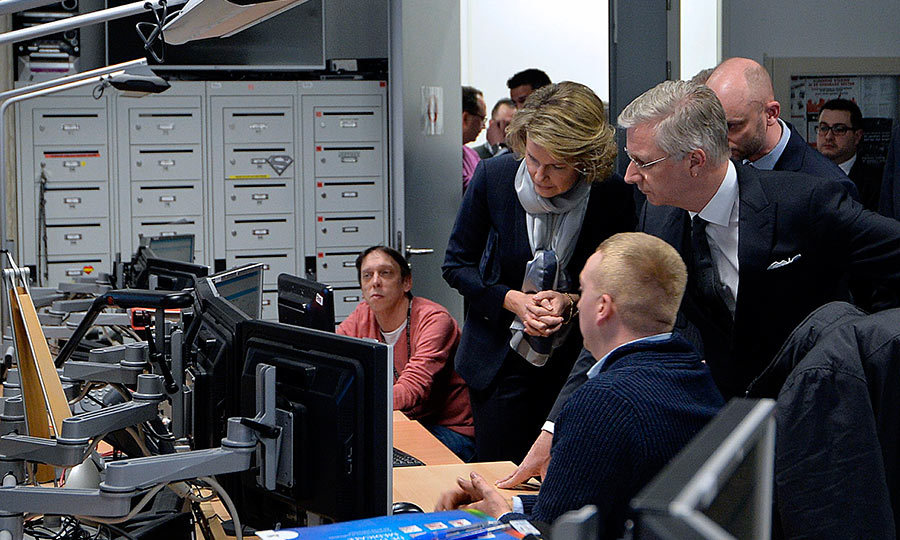 Following the tragic terrorist attacks in Brussels, Queen Mathilde and King Philippe of Belgium visit an emergency call center in Leuven.