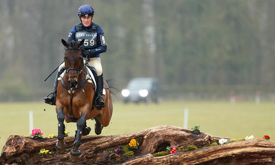 With daughter Mia and proud husband Mike Tindall looking on, Zara Phillips competed in the cross country phase of the Gatcombe Horse Trials.