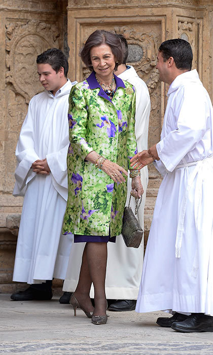 King Felipe of Spain's mother, Queen Sofia, opted for a vibrant and colorful coat to attend Easter Mass in Palma de Mallorca.