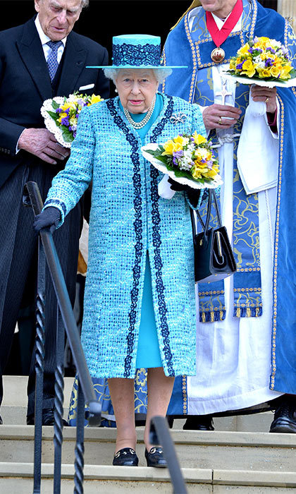 Queen Elizabeth opted for a bright blue ensemble to attend the traditional Royal Maundy Service at Windsor Castle.
