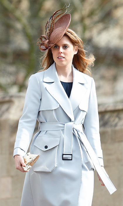Princess Beatrice chose Topshop for her light blue trench, which she wore to the Royal Family's annual Easter church service.