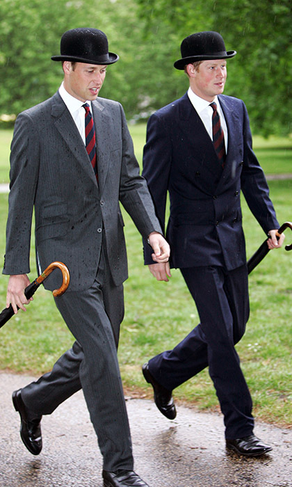 Looking more dapper than ever, the two had a moment in the rain during the Cavalry Old Comrades Association Annual Parade in London. 