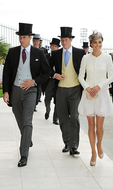 Top hats were the dress code for William and Harry as they stepped out for Investec Derby Day with Duchess Kate.