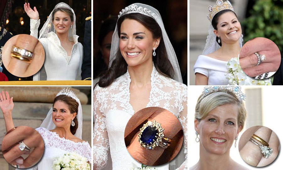 From <b>Queen Letizia</b>'s band of diamonds to <b>Kate Middleton</b>'s gorgeous Sapphire, we have some serious ring envy. Each royal bride has a special detail to their sparkler that makes it their own, whether that be colored stones to represent their country or a personal design. 