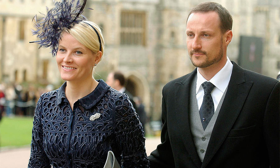 Royals from around the world attended the blessing at Windsor Castle including King Constantine II and Queen Anne-Marie of Greece, Crown Prince Haakon and Crown Princess Mette-Marit of Norway (pictured) and the King of Bahrain.