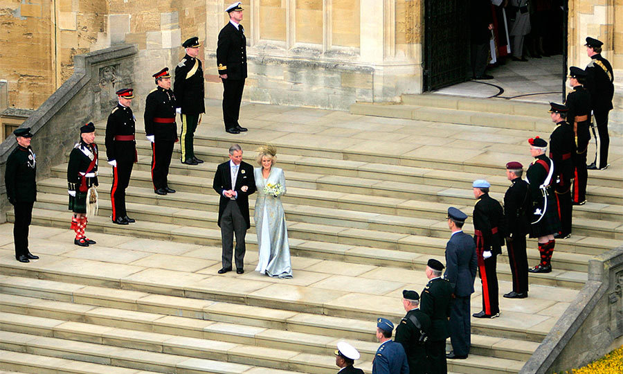 The wedding date had been set for April 8, 2005 but had to be postponed by a day, so that the Prince of Wales could represent The Queen at the funeral of Pope John Paul II. So on April 9, after the civil vows, the Prince and Duchess held a service of blessing at St. George's Chapel at Windsor Castle. 