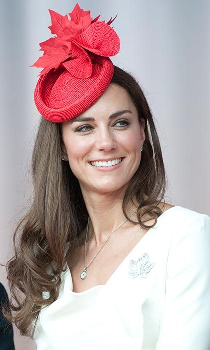 Letting her Canadian-themed hat steal the show during a visit to the North American country, the Duchess kept her glossy tresses simple.